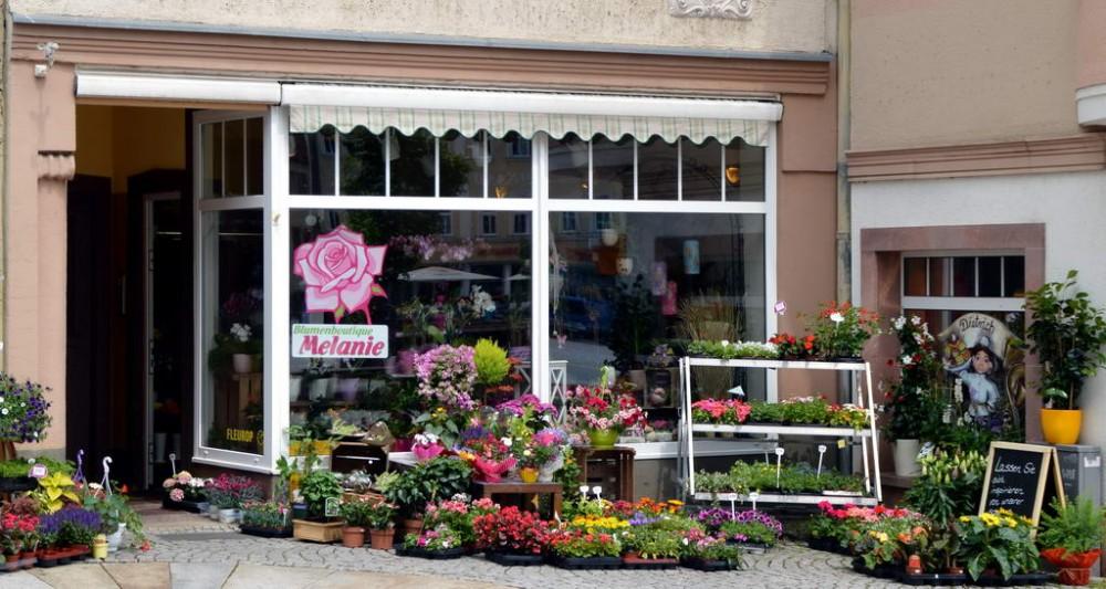 Die toll dekorierte Filiale der Blumenboutique Melanie in Mittweida