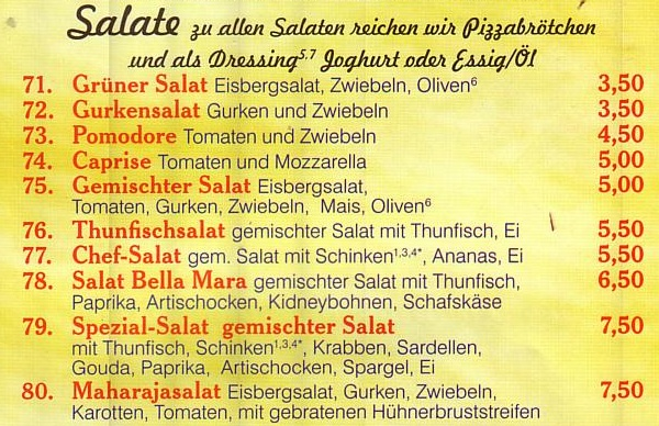 Salate bei Pizza Mara in Schlangen