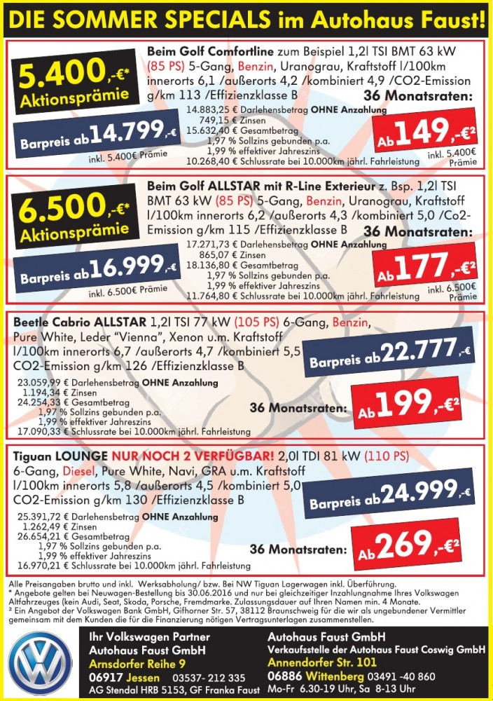 Autohaus Faust Sommer Specials 2016