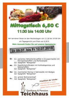 TAGESGERICHT TEICHHAUS Mittagsangebot für 6,50€