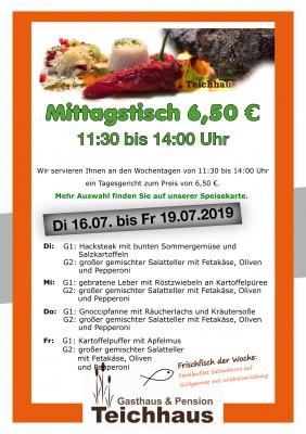 Mittagsangebot für nur 6,50€ Di-Fr von 11:30 Uhr bis 14 Uhr