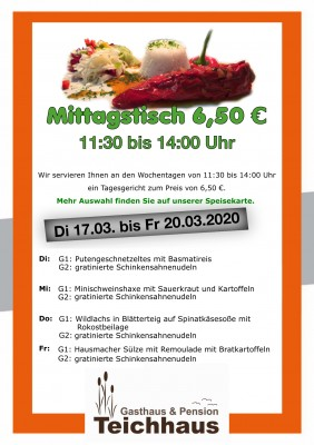 Mittagsangebot Teichhaus Eschefeld
