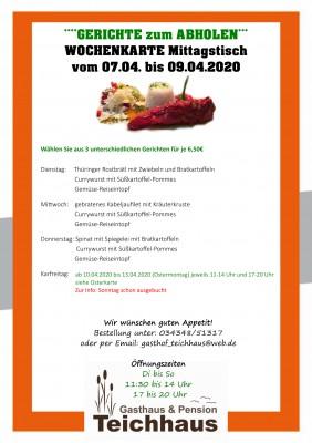 NEUE Wochenkarte, Cateringkarte Teichhaus